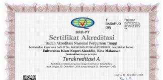 Sertifikat Akreditasi A UIN Alauddin Makassar.[Foto:/Ist.]