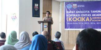 Sambutan Rektor Unibos, Prof Saleh Pallu, M Eng., pada Rapat Anggota Tahunan Kocika 2019.[Foto:/Ist.]