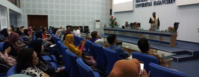 Suasana kuliah tamu FKM dan Sekolah Pascasarjana Unhas.[Foto:/Ist.]