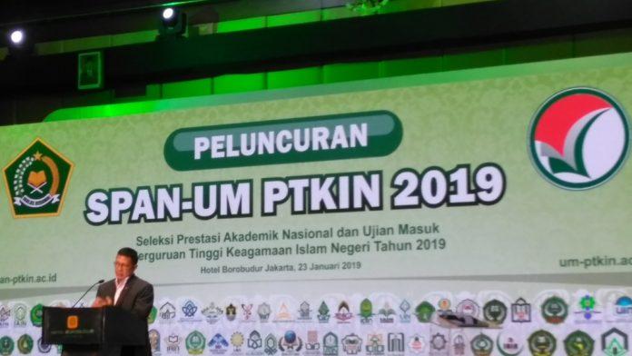 Menteri Agama (Menag) Lukman Hakim Saifuddin meluncurkan Seleksi Prestasi Akademik Nasional Ujian Masuk (SPAN-UM), Perguruan Tinggi Keagamaan Islam Negeri (PTKIN), 2019.[Foto:/Ist.]