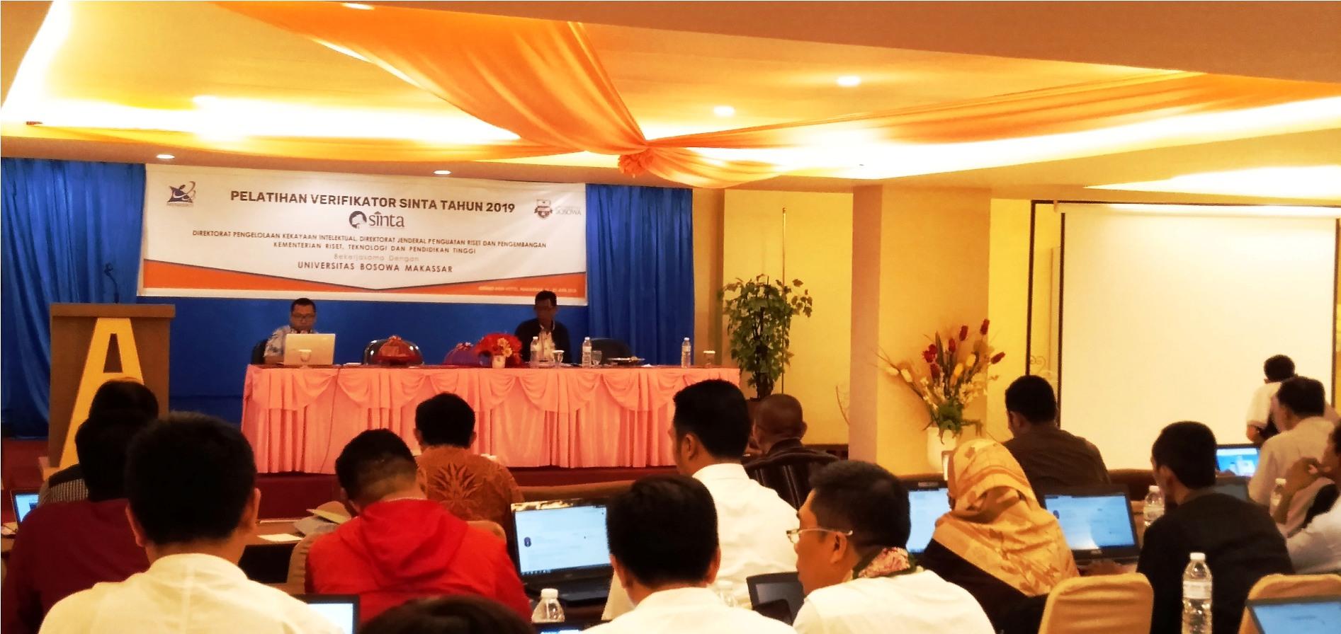 Sosialisasi dan pelatihan SINTA oleh Kemenristekdikti yang bekerjasama dengan LPPM Unibos dan diikuti 55 perguruan tinggi se LLDikti Wilayah IX Sulawesi dan Gorontalo yang berlangsung di Grand Asia Hotel Makassar, Senin, 24 Juni 2019. (FOTO: IST)