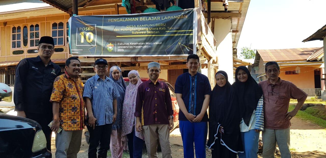 Supervisor dan Satgas PBL FKM Unhas melakukan kunjungan lapangan kepada setiap desa/kelurahan di Kecamatan Polongbangkeng, Kabupaten Takalar, 27 Juni 2019. (FOTO: IST)