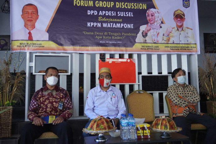 KPPN Watampone kerjasama dengan APDESI Provinsi Sulsel Gelar FGD Dana Desa beberapa waktu yang lalu